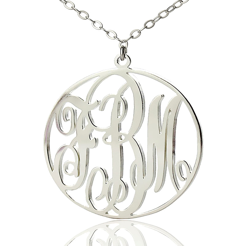 personalized silver vine font circle initial monogram necklace
