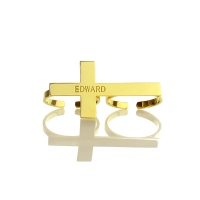 Two fingers Ring Cross Name Ring Engraved Double Ring Gold