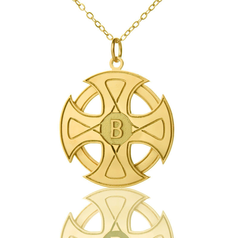 Engraved celtic cross necklace gold plated 925 silver