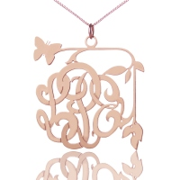 Hand-Design Monogram Necklace with Vines & Butterfly Rose Gold