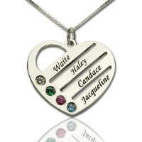 Personalized Birthstone Heart Necklace with Name Silver