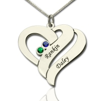 Personalized Birthstone Heart Necklace Silver