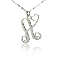 Personalized One Initial With Heart Monogram Necklace Solid White Gold