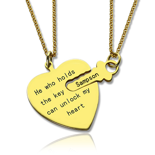 Personalized Key to My heart Couple Name Necklaces Gold ...