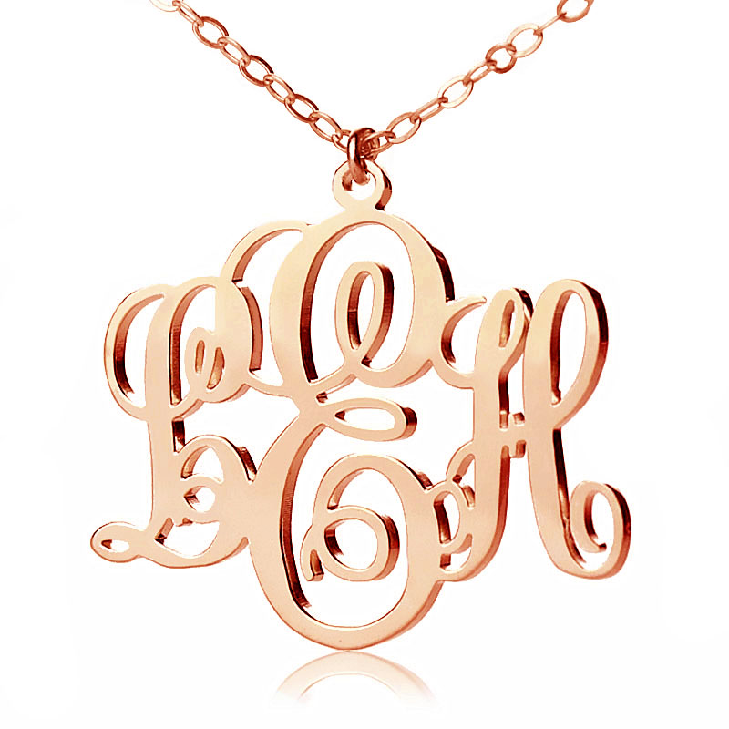 personalized gold vine font initial monogram necklace
