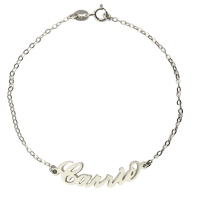 Silver Carrie Style Name Bracelet