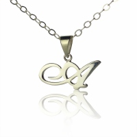 Charlize Theron Silver Initial Necklace