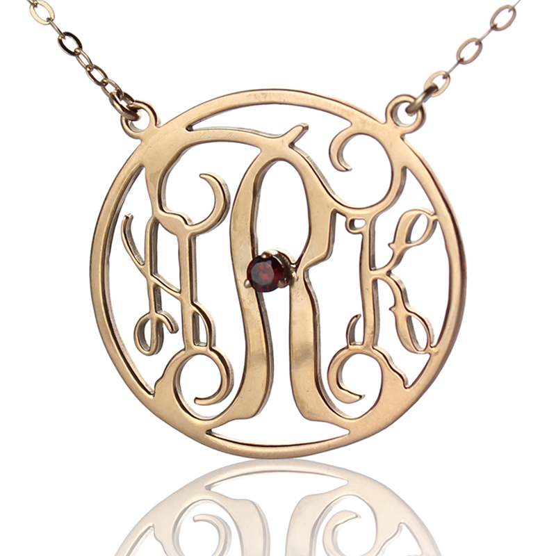 gold circle initial monogram necklace one birthstone