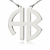 Personailzed Silver Two Initial Block Monogram Necklace