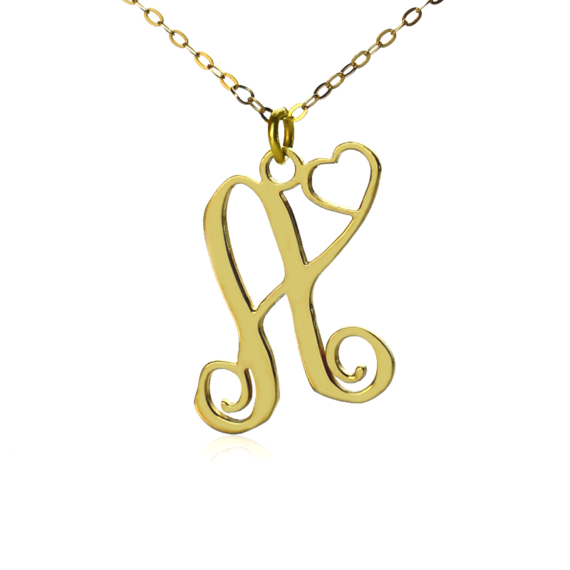 Personalized one initial with heart monogram necklace gold