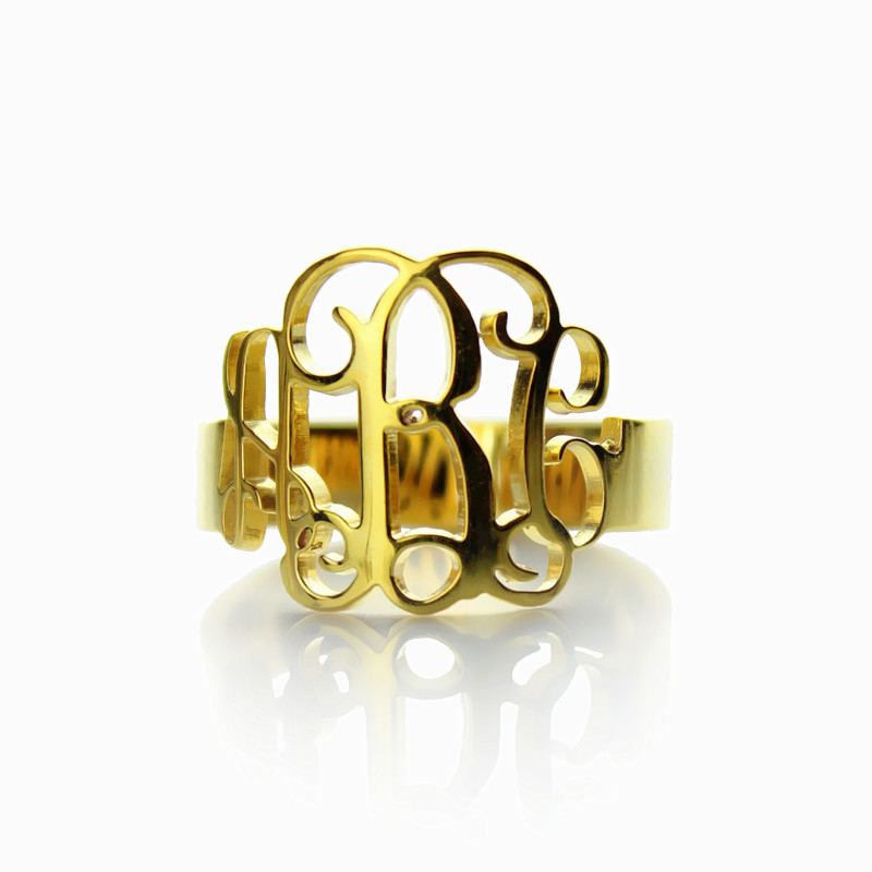 gold personalized monogram ring