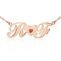 Rose Gold Two Capital Letters Carrie Style Name Necklace