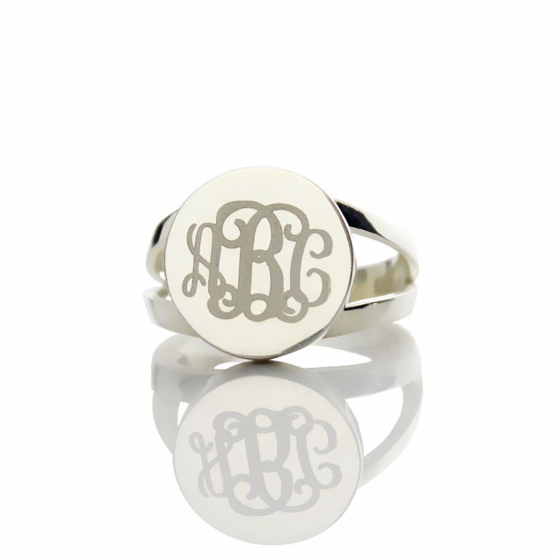 silver unique monogram ring