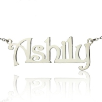 Silver Harrington Font Name Necklace
