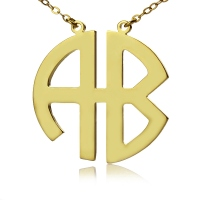 Personailzed Two Initial Block Monogram Necklace Gold