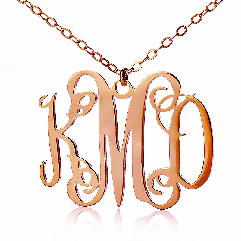 Rose gold taylor swift style personalized monogram necklace for Rose gold personalized jewelry