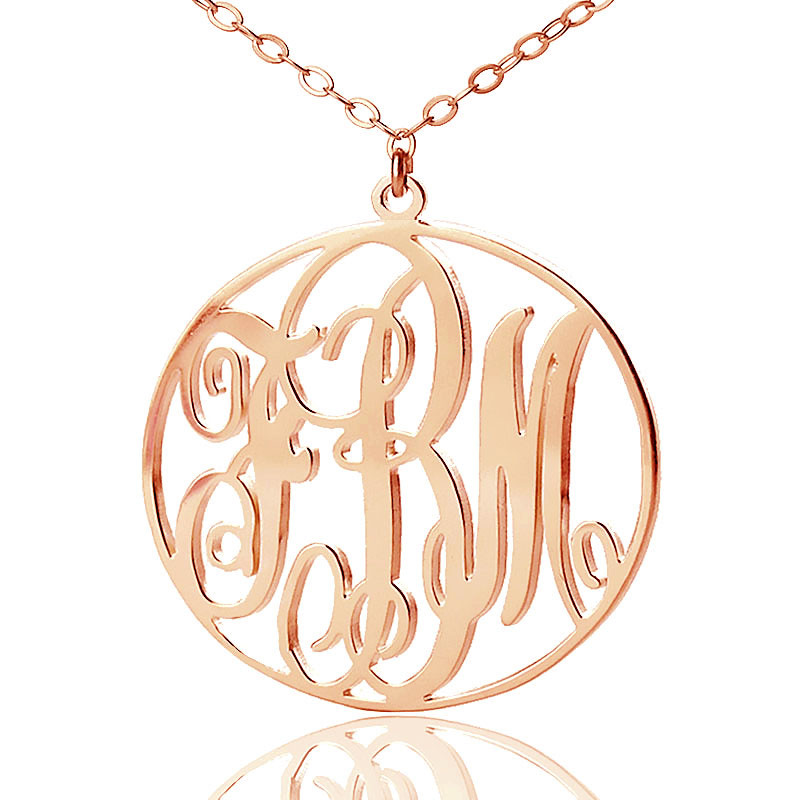 Personalized rose gold vine font circle initial monogram for Rose gold personalized jewelry