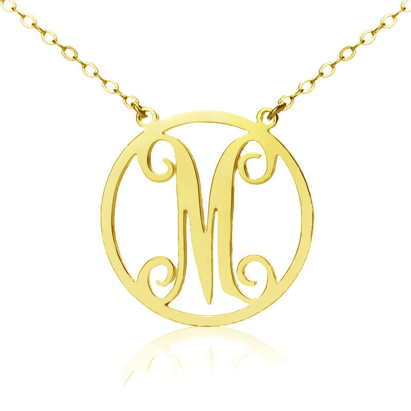 gold single initial circle monogram necklace