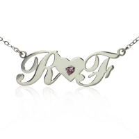 Two Capital Letters Carrie Style Name Necklace Silver