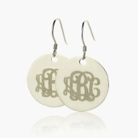 Silver Circle Signet Monogram Earring