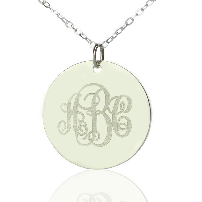 Silver vine font disc engraved monogram necklace