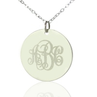 Silver Vine Font Disc Engraved Monogram Necklace