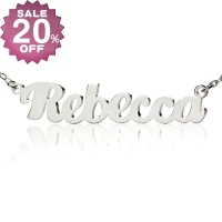 Personalized Silver Puff Font Name Necklace