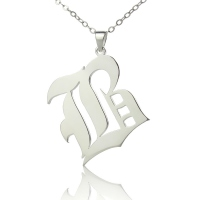 Silver Old English Style Single Initial Name Necklace