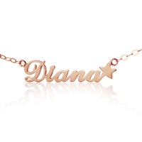 Rose Gold Carrie Style Name Necklace With a Star