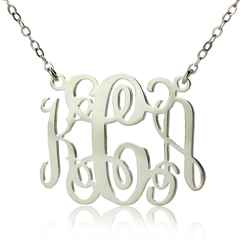 bellino style personalized monogram necklace silver