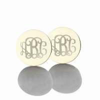 Personalized Studs Monogram Initial Earrings Engraved Name Earrings Silver