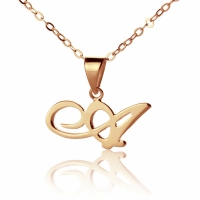 Personalized Madonna Style Initial Necklace Solid Rose Gold