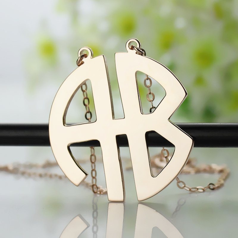 personailzed rose gold two initial block monogram necklace