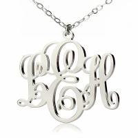 Personalized Vine Font Initial Monogram Necklace Silver