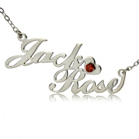 Two-Row Letter Carrie Style Name Necklace Silver