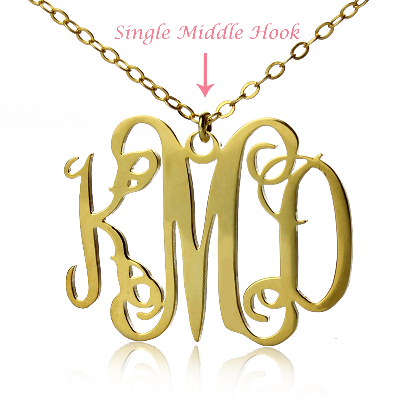 Taylor Swift Style Personalized Monogram Necklace Gold