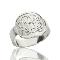 Engraved Round Plate Monogram Ring Silver