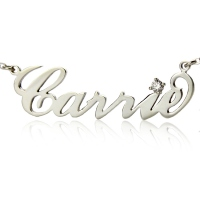 Personalized Silver Carrie Style Name Necklace With One Birthstone