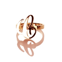 Personaizedl Carrie Style Name Ring Custom Cut Initial Ring - 0.59""