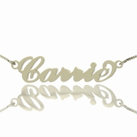 Personalized Silver Carrie Name Necklace & Box Chain