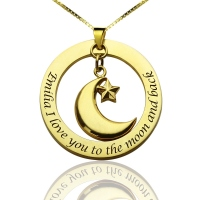 Personalized Moon & Star Love Name Necklace Gold