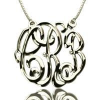 Celebrity Cube Premium Monogram Necklace Silver