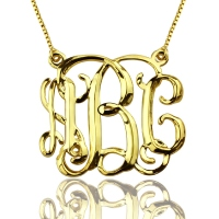 Personalized Cube Monogram Initials Necklace Gold