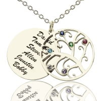 Engraved Family Tree Necklace with Birthstones