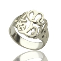 Personalized Hand Drawing Monogram Ring Silver