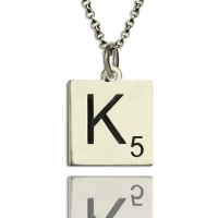 Engraved Scrabble Necklace Kids Jewelry Silver