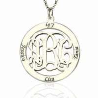 Personalized Family Monogram Name Necklace Silver