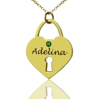 I Love You Heart Lock Charm Name Necklace Gold