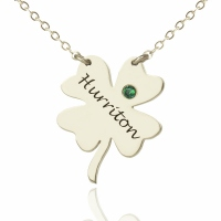 Engraved Irish Four Leaf Clover Name Necklace Silver