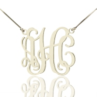 Alexis Bellino Style Monogram Necklace Silver -Box Chain